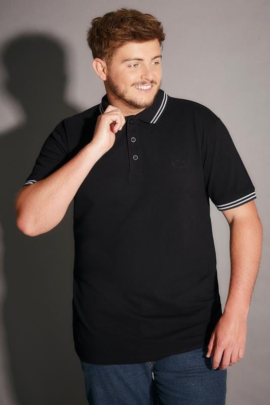 Polo Shirts BadRhino Black Polo Shirt With White Stripe Detail 055125