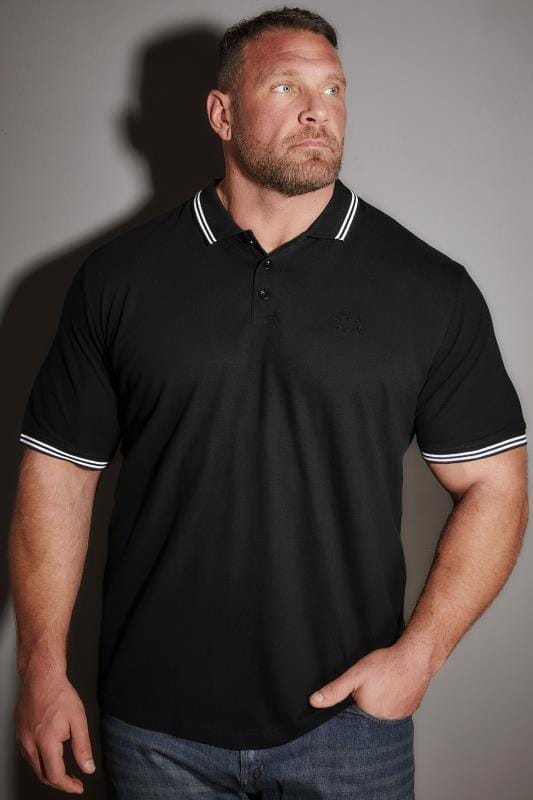 Polo Shirts BadRhino Black Textured Tipped Polo Shirt 055125