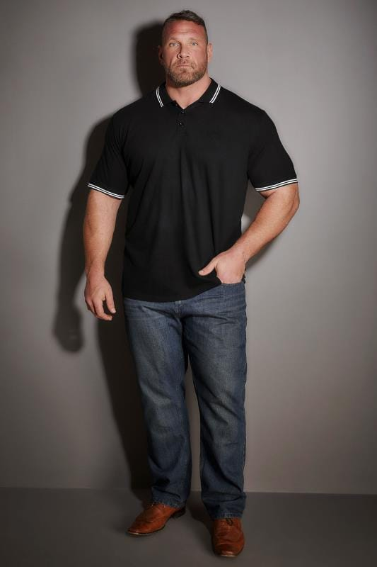 BadRhino Black Textured Tipped Polo Shirt