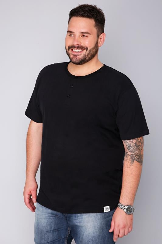 BadRhino Black Short Sleeve Grandad T-Shirt - TALL