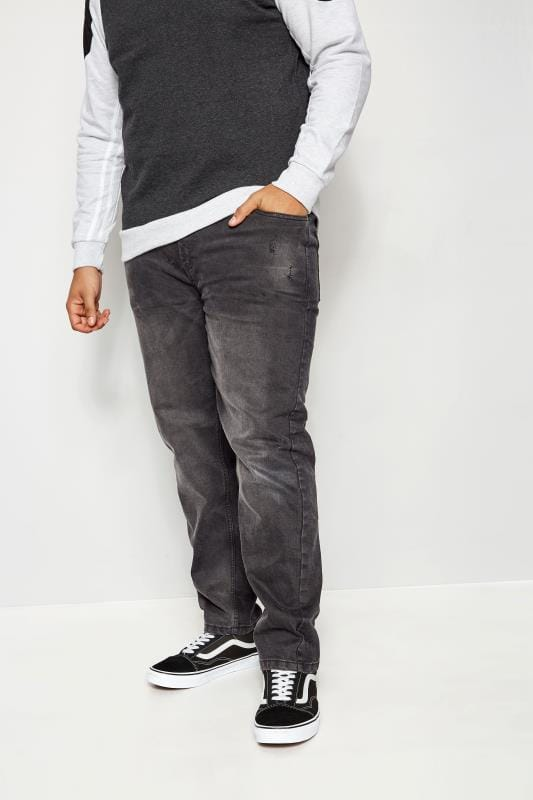 BadRhino Black Slim Tapered Fit Stretch Jeans