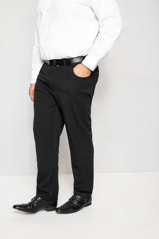 BadRhino Black Smart Straight Leg Stretch Trousers With 5 Pockets