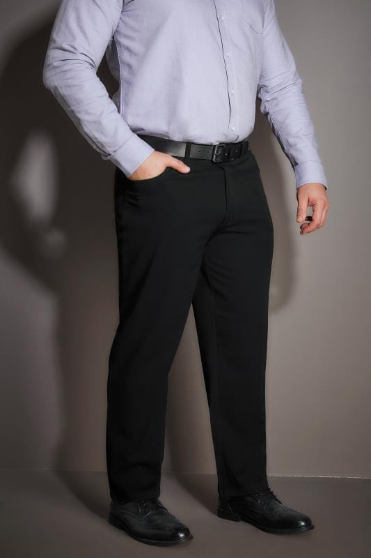 Smart Trousers BadRhino Black Smart Straight Leg Stretch Trousers With 5 Pockets 100981
