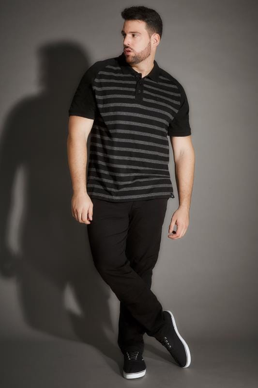 BadRhino Black Premium Slub Jersey Striped Polo Shirt