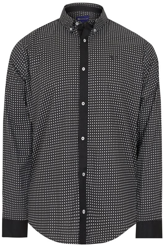 Smart Shirts BadRhino Black & White Patterned Shirt With Button Down Collar 200431