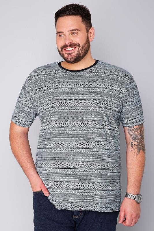 BadRhino Black & White Stripe Printed T-Shirt - TALL