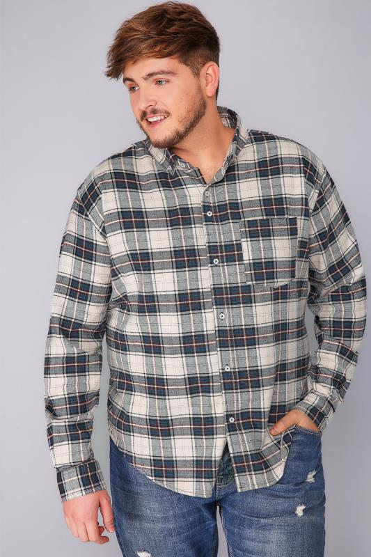 BadRhino Blue Brushed Checked Shirt - TALL