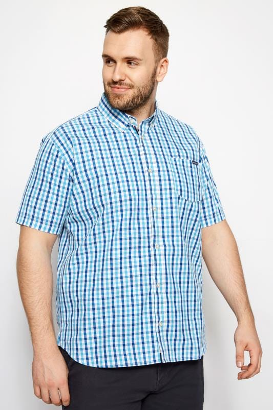 Casual Shirts BadRhino Blue Check Short Sleeve Shirt 200903