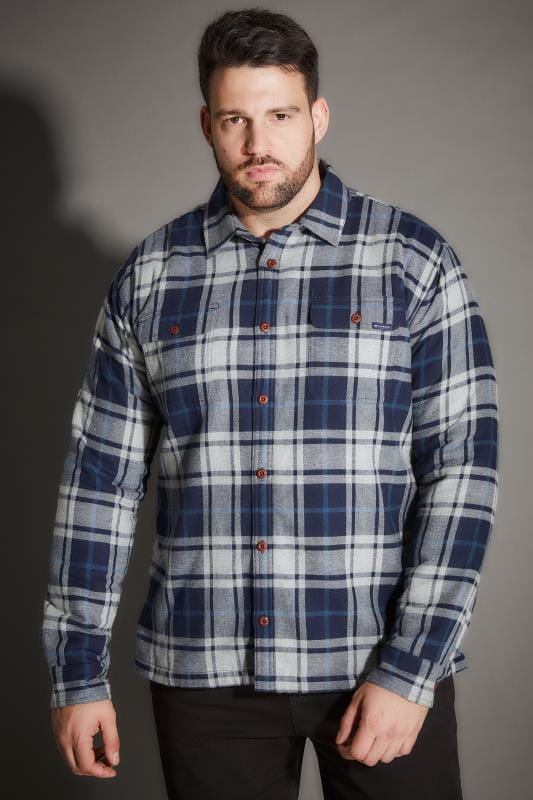 Casual Shirts BadRhino Blue Checked Padded Shirt With Fleece Lining 200423