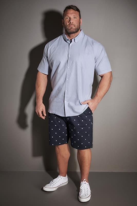 BadRhino Blue Cotton Short Sleeved Oxford Shirt