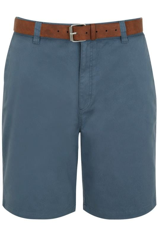 Chino Shorts BadRhino Blue Five Pocket Chino Shorts With Belt 200254