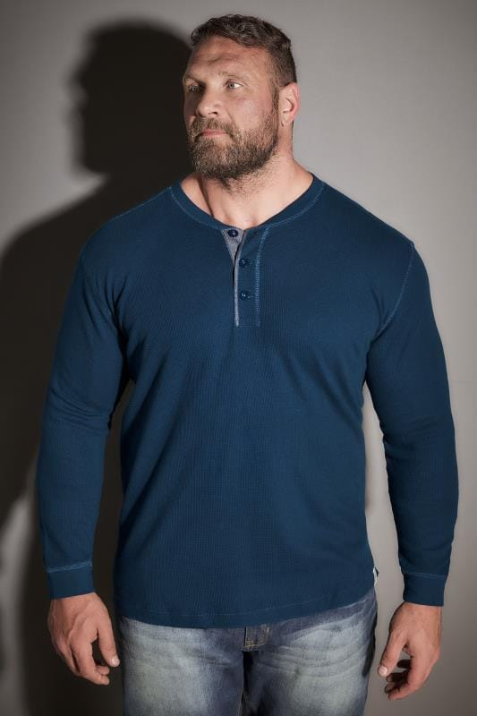 T-Shirts BadRhino Blue Henley Button Detail Cotton Jersey Top 110286