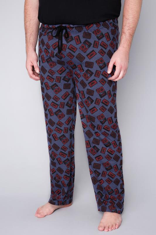 BadRhino Blue Marl Cassette Tape Print Loungewear Bottoms