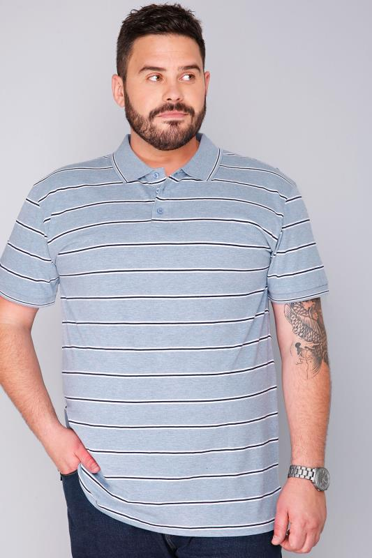 BadRhino Blue Marl Jersey Short Sleeve Polo Shirt With White And Navy Stripe