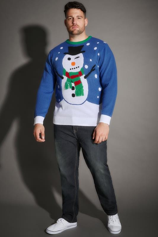 BadRhino Blue Christmas Snowman Knitted Jumper