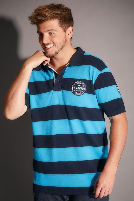 BadRhino Blue & Navy Stripe Polo Shirt With Badges - TALL