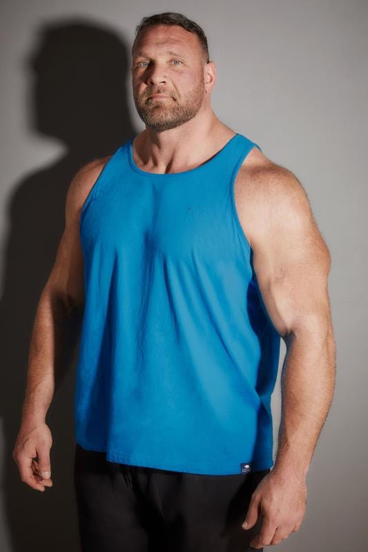 BadRhino Blue Plain Crew Neck Cotton Vest Top