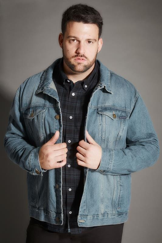 BadRhino Blue Stonewash Denim Jacket With Pockets & Button Front