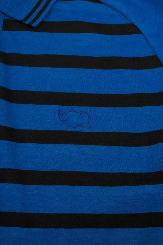 BadRhino Blue Premium Slub Jersey Striped Polo Shirt