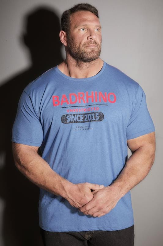 T-Shirts BadRhino Blue 'Unrestricted' Slogan T-Shirt 200142