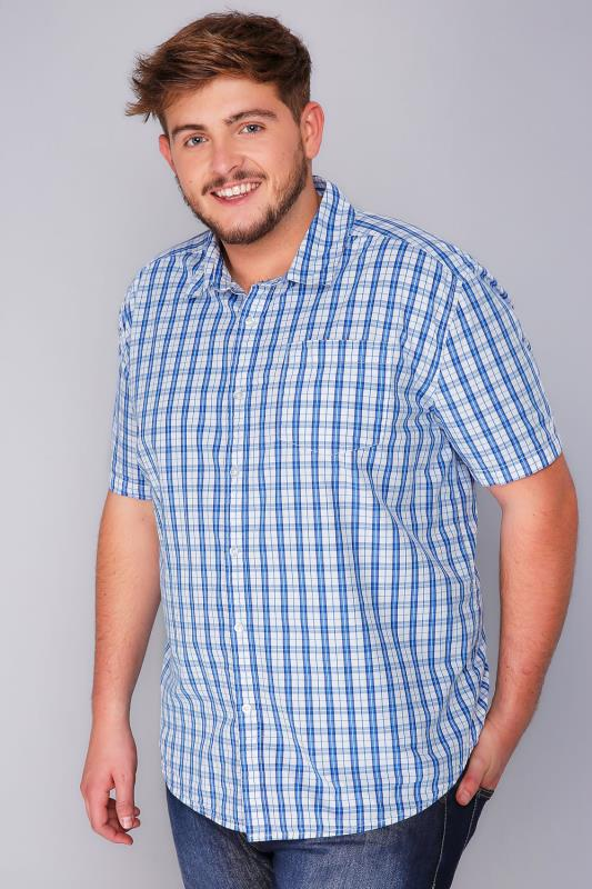 BadRhino Blue & White Checked Short Sleeve Shirt