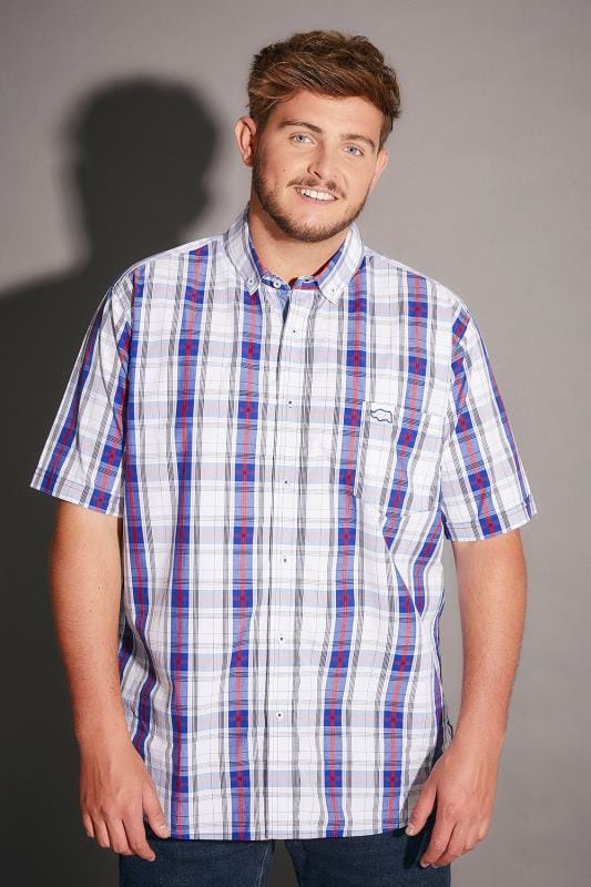 BadRhino Blue & White Large Grid Check Short Sleeve Shirt