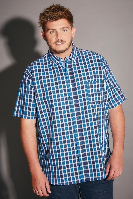 BadRhino Blue & White Mid Grid Check Short Sleeve Shirt - TALL