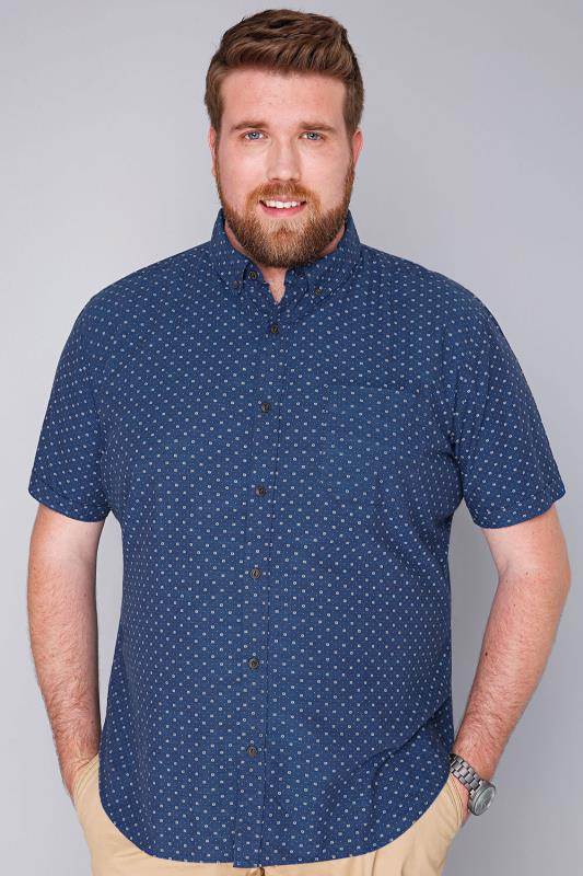 BadRhino Blue & White Printed Short Sleeve Shirt