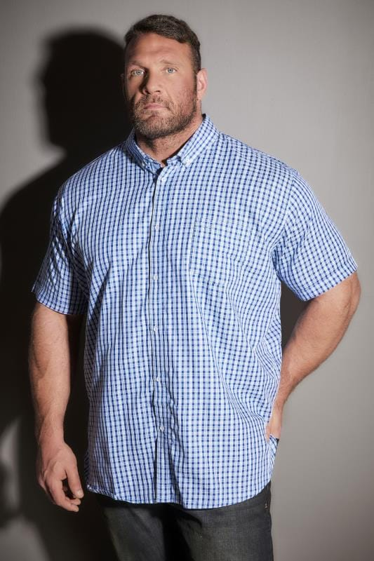Smart Shirts BadRhino Blue & White Small Grid Check Short Sleeve Shirt 200172