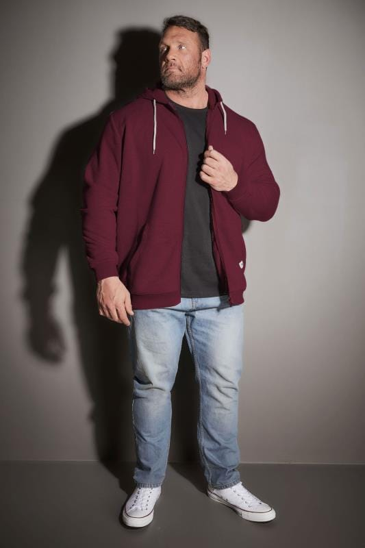 BadRhino Burgundy Basic Sweat Hoodie With Pockets