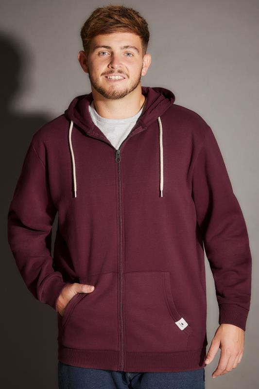 Hoodies BadRhino Burgundy Basic Sweat Hoodie With Pockets 200196
