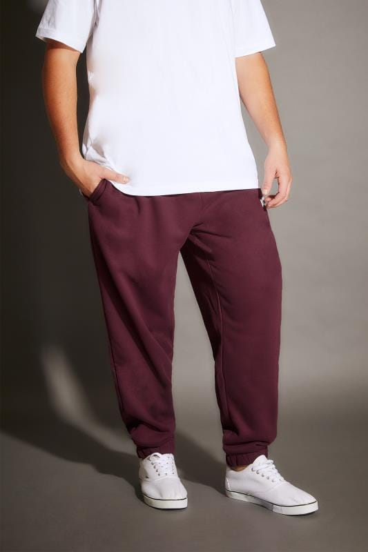 Joggers BadRhino Burgundy Basic Sweat Joggers With Pockets 200213