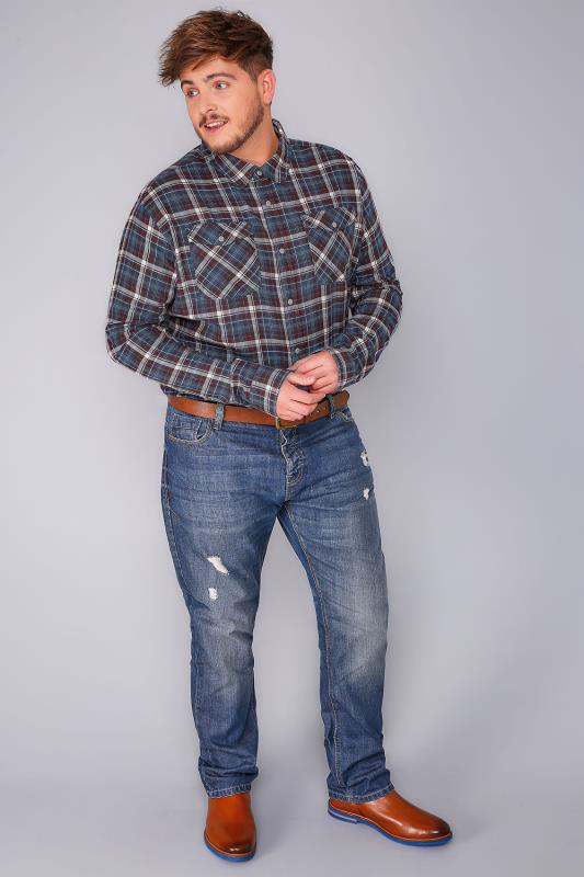 BadRhino Burgundy & Blue Brushed Cotton Check Shirt