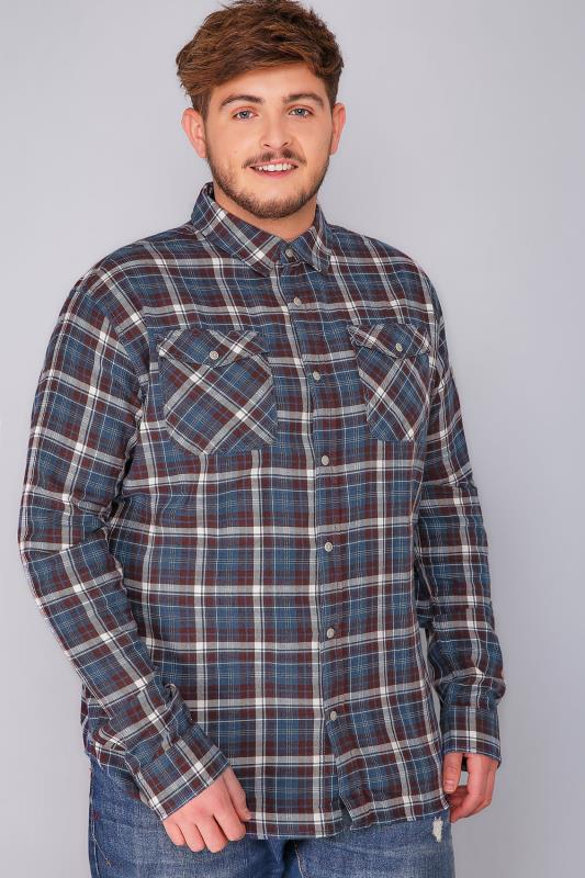 BadRhino Burgundy & Blue Brushed Cotton Check Shirt - TALL