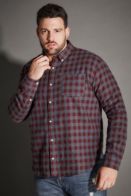 Casual Shirts BadRhino Burgundy Brushed Checked Shirt 200421