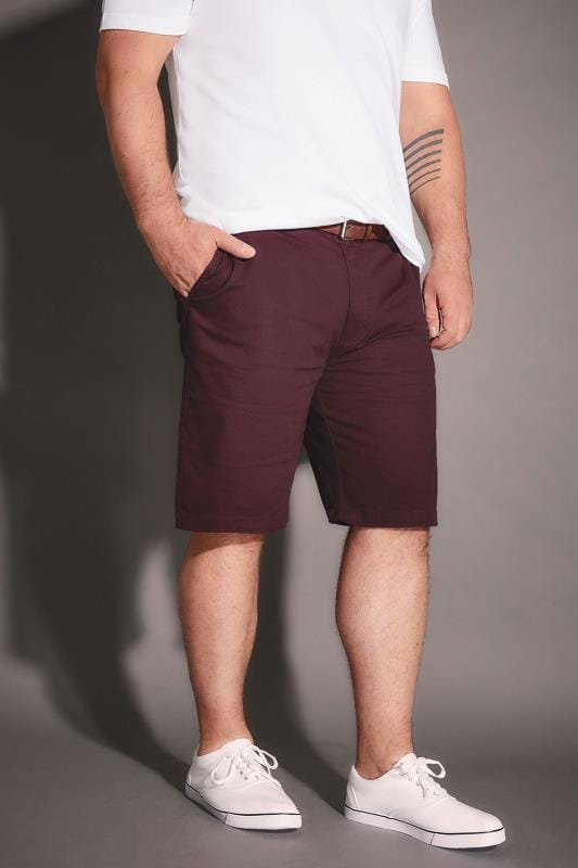 BadRhino Burgundy Five Pocket Chino Shorts With Belt