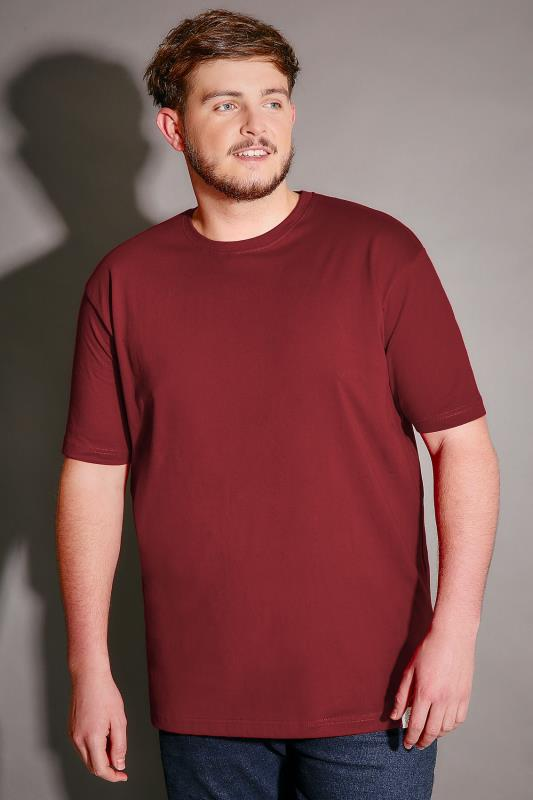 BadRhino Burgundy Crew Neck Basic T-Shirt