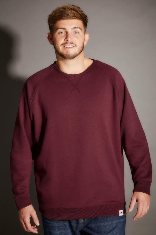 BadRhino Burgundy Crew Neck Raglan Basic Sweatshirt - TALL