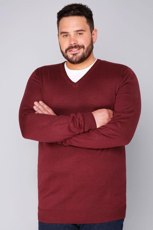 Jumpers BadRhino Burgundy Fine Knit V Neck Jumper 110098