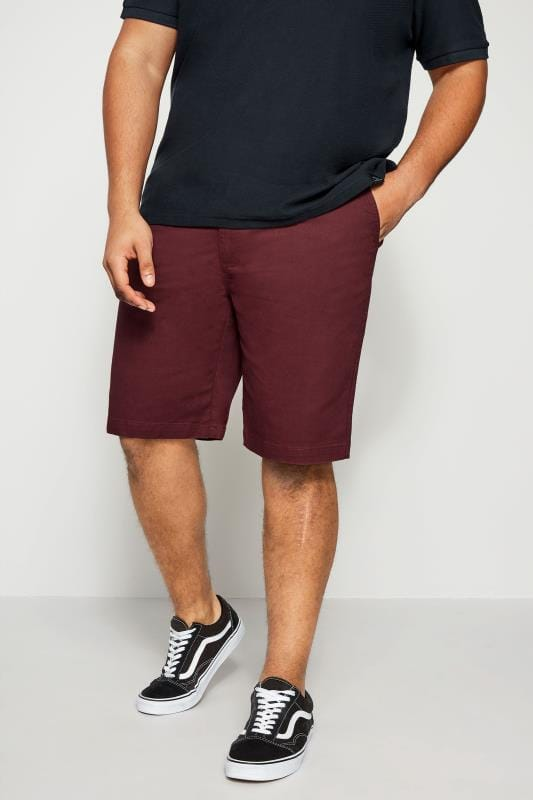 Chino Shorts BadRhino Burgundy Five Pocket Chino Shorts With Belt 200253