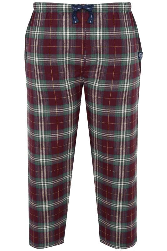 Nightwear BadRhino Burgundy & Green Check Pyjama Bottoms 200465