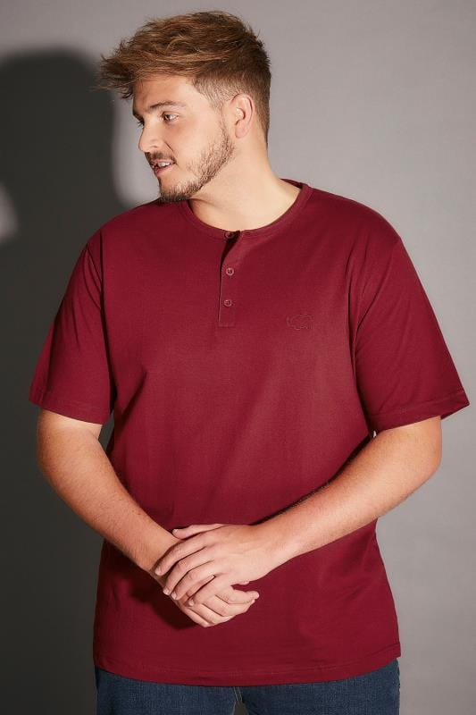 BadRhino Burgundy Short Sleeve Grandad T-Shirt - TALL