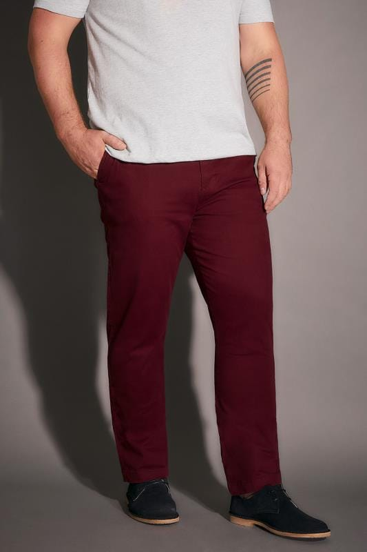 BadRhino Burgundy Stretch Chinos - TALL