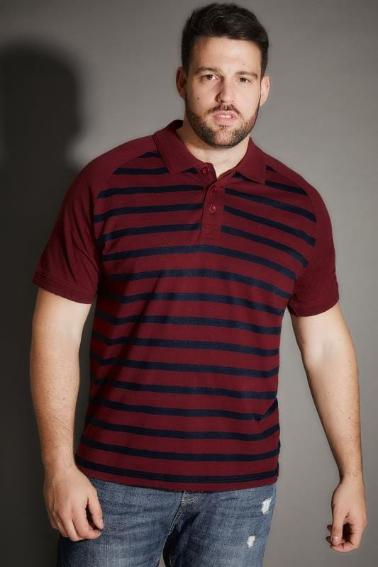 Polo Shirts BadRhino Burgundy Premium Slub Jersey Striped Polo Shirt 200532