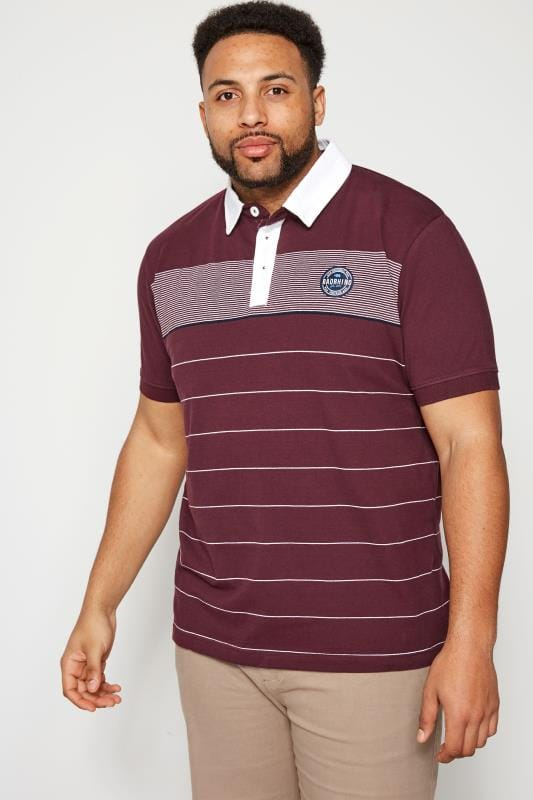 Polo Shirts BadRhino Burgundy Striped Woven Collar Polo Shirt 201008