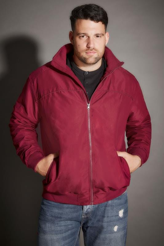 BadRhino Burgundy Suedette Harrington Bomber Jacket - TALL