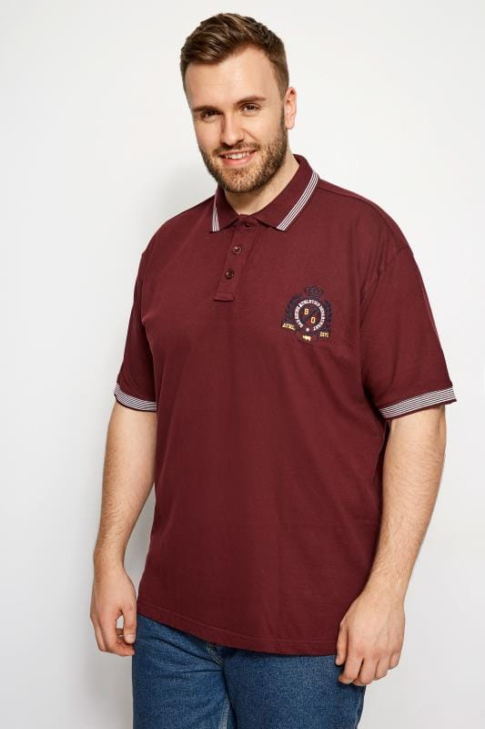 Polo Shirts BadRhino Burgundy Tipped Polo Shirt 200989