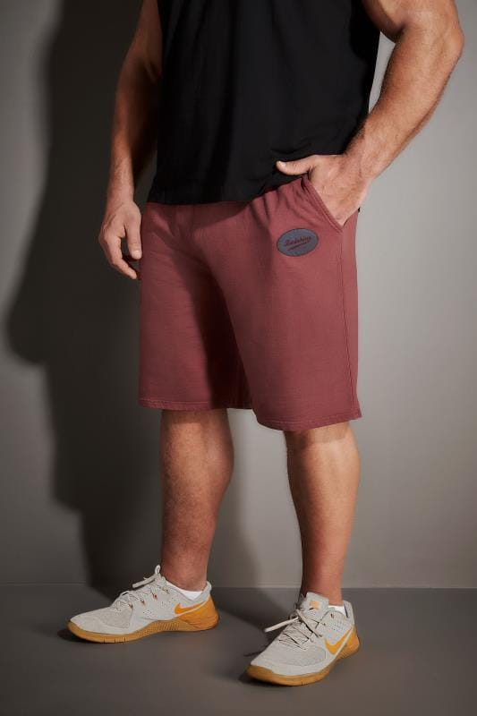BadRhino Burgundy Washed Jersey Shorts With Pockets & Logo Detail