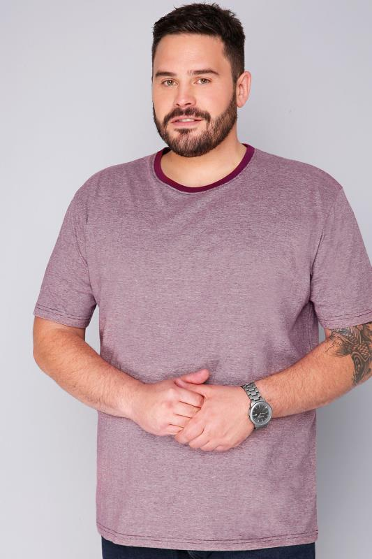 BadRhino Burgundy & White Fine Striped Short Sleeved T-Shirt