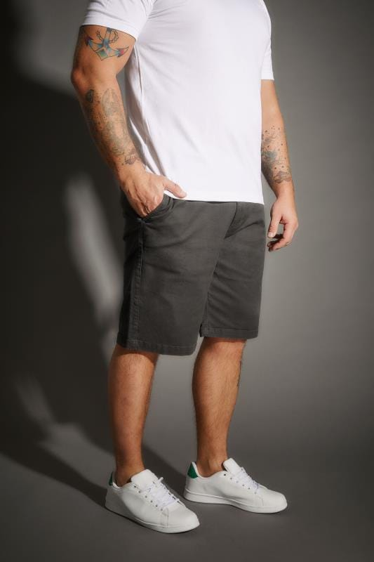 BadRhino Charcoal Five Pocket Chino Shorts With Belt